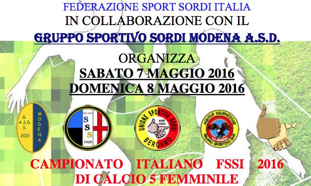 7-8 Maggio, Modena (MO). Campionato FSSI di Calcio A5 Femminile