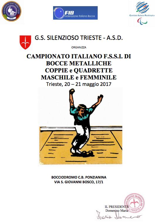 La F.S.S.I. (Federazione Sport Sordi Italia) indice ed organizza con la  collaborazione del Gruppo Sportivo Silenzioso di Trieste – A.S.D. e con  l assistenza ... 8976cfae20a48