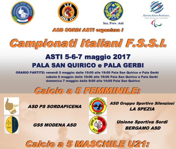 5-7 Maggio, Asti (TO). Campionato FSSI di Calcio A5/F e Under21