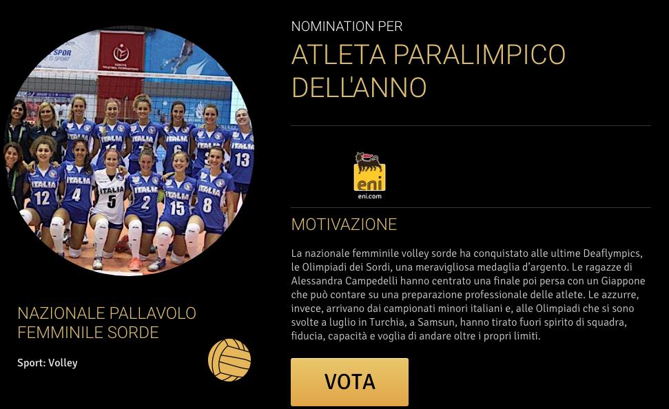 Gazzetta Sports Awards – Nomination la Nazionale Italiana Femminile di Pallavolo Sorde