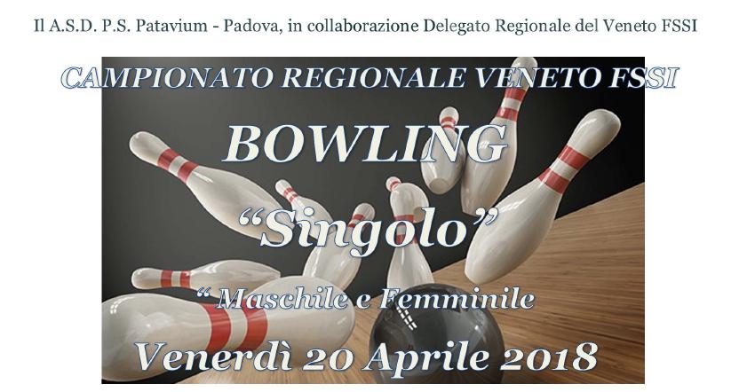 20 Aprile, Rubano (PD). Campionato Regionale FSSI di Bowling M/F