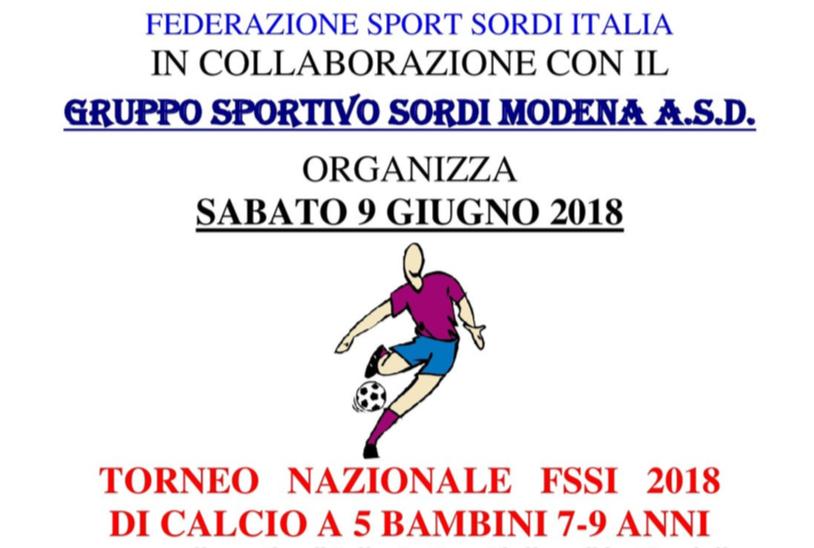 9 Giugno, Modena (MO). Torneo Nazionale di Calcio A5 per Bambini di 7-9 anni