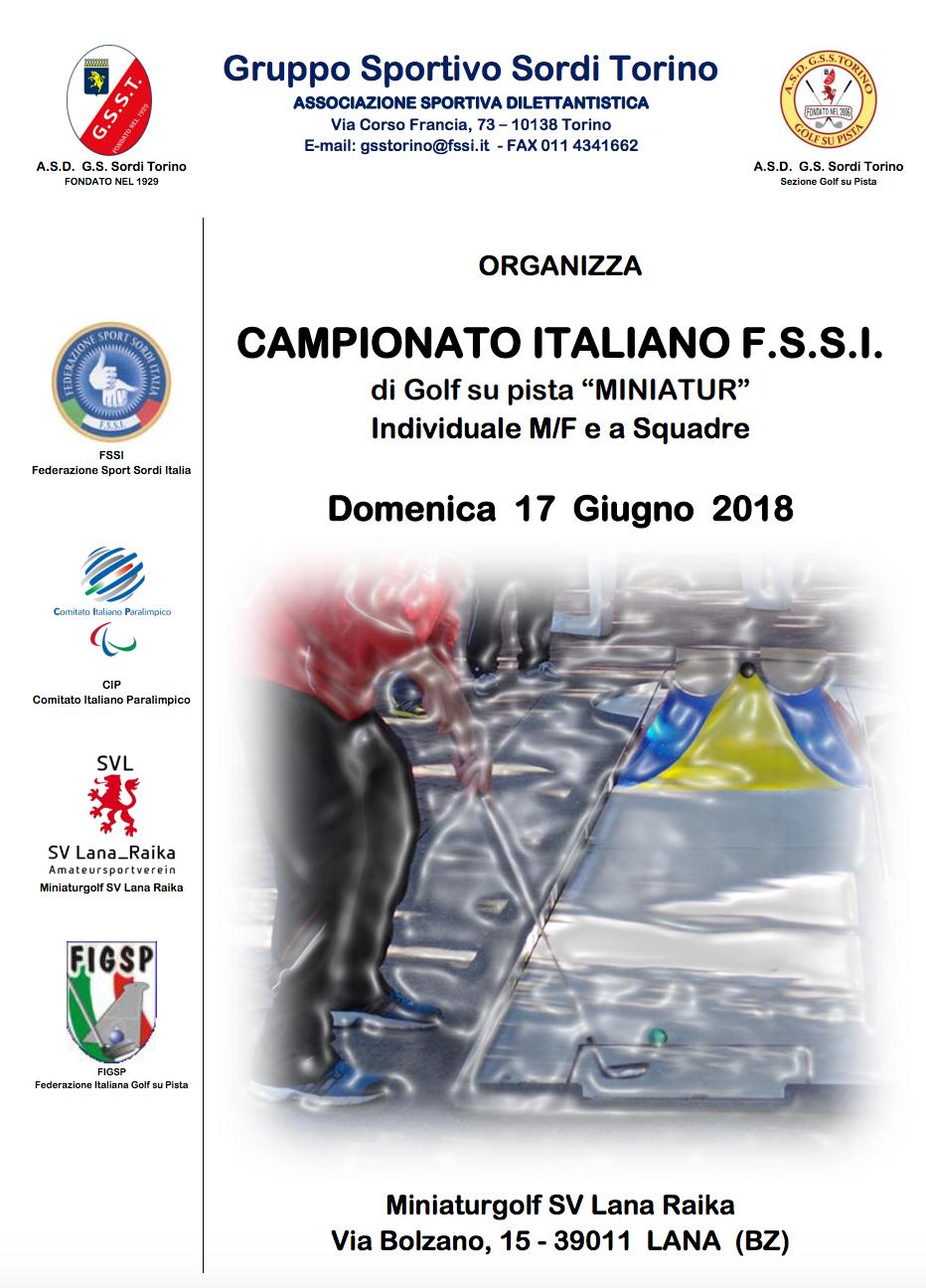 La F.S.S.I. indice ed organizza con la collaborazione dell A.S.D. Gruppo Sportivo  Sordi Torino e con l assistenza tecnica FIGPS (Federazione Italiana Golf ... 0f2b911030958
