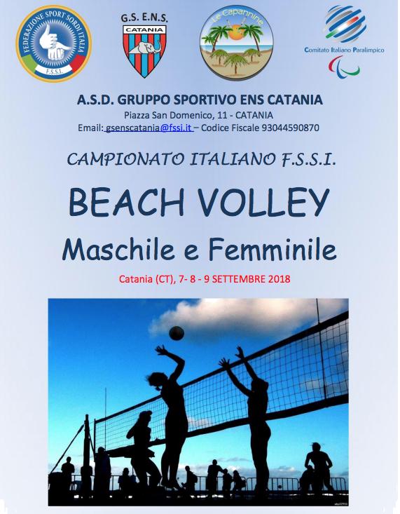 La Federazione Sport Sordi Italia (FSSI) indice e organizza il Campionato  Italiano di Beach Volley Maschile e Femminile con la collaborazione della  società ... b77e48d38c7f5