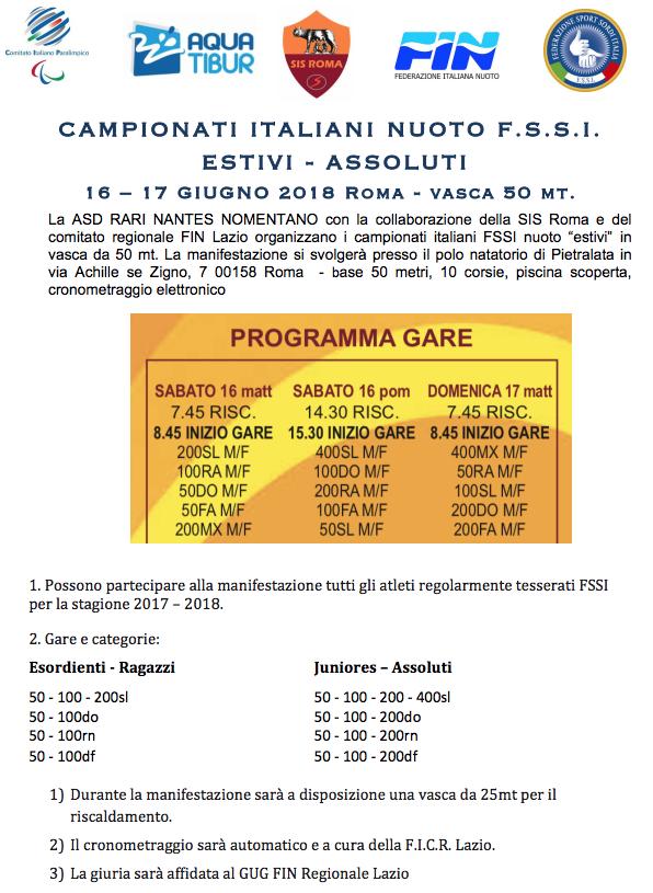 """La ASD RARI NANTES NOMENTANO con la collaborazione della SIS Roma e del  comitato regionale FIN Lazio organizzano i campionati italiani FSSI nuoto  """"estivi"""" ... 34c1d198ae607"""