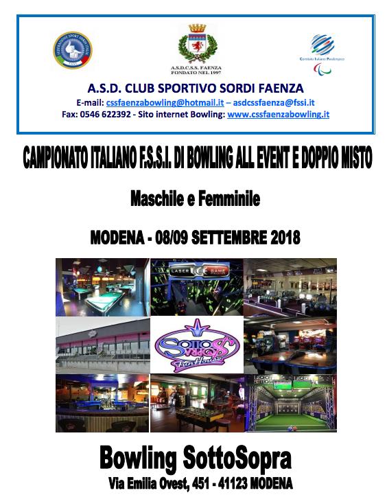 Dal 08 al 09 Settembre 2018 si svolgerà presso il centro Bowling SottoSopra  di Modena b2acb1b0284ee