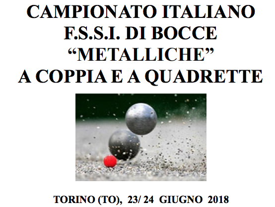 """23-24 Giugno, Torino (TO). Campionato FSSI di Bocce Metalliche """"A Coppie"""" e """"A Quadrette"""" M/F"""