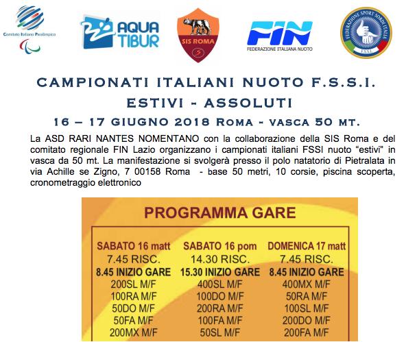 """16-17 Giugno, Roma (RM). Campionato FSSI di Nuoto """"Estivi"""" 50mt"""