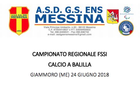 24 Giugno, Pace del Mela (ME). Campionato Regionale FSSI di Calcio Balilla