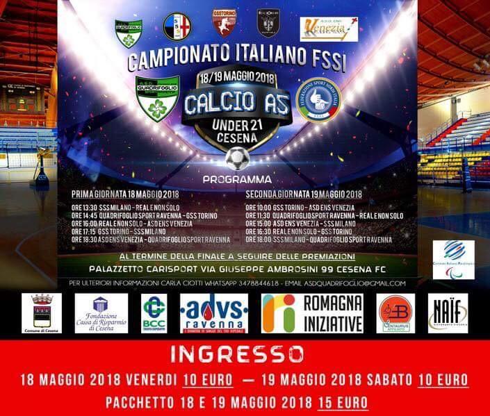 """Diretta ore 16.30 e 18, Campionato Italiano FSSI di Calcio A5 """"Under21"""""""