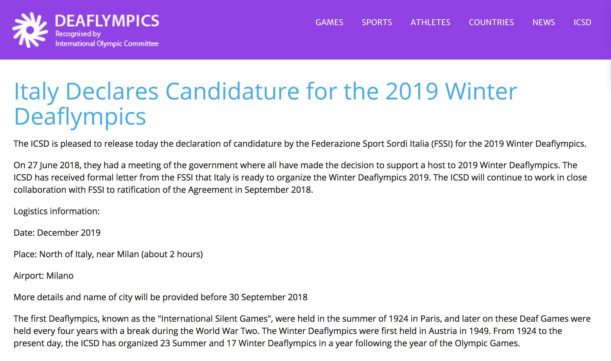 Italia FSSI ufficializza la candidatura per l'organizzazione delle Deaflympics invernali 2019