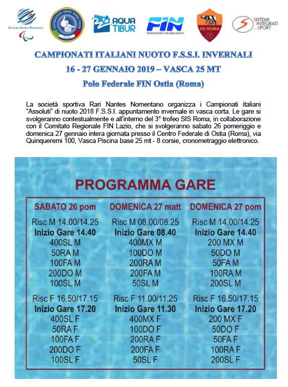 Fin Nuoto Calendario Gare.Nuoto Vasca Corta 25mt Fssi