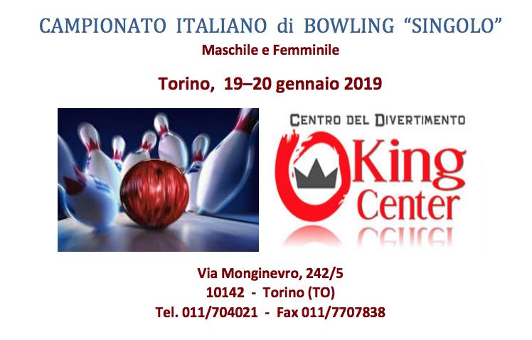 19-20 Gennaio, Torino (TO). Campionato FSSi di Bowling M/F