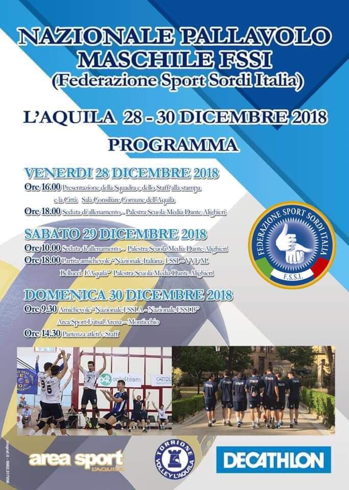 28-30 Dicembre, Aquila (AQ). Raduno Nazionale della Nazionale di Pallavolo/M