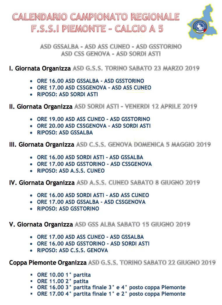 Calendario Campionato Calcio.Calcio A 5 Campionato Regionale Fssi