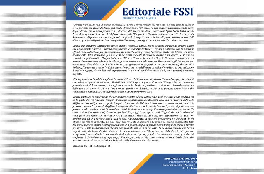 Editoriale FSSI 01/2019