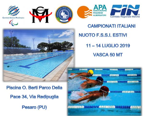 11-14 Luglio, Pesaro (PU). Campionato FSSI di Nuoto Estivi 50mt