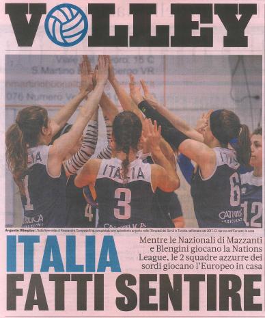 Articolo pubblicato sulla Gazzetta dello Sport: Volley Italia fatti sentire