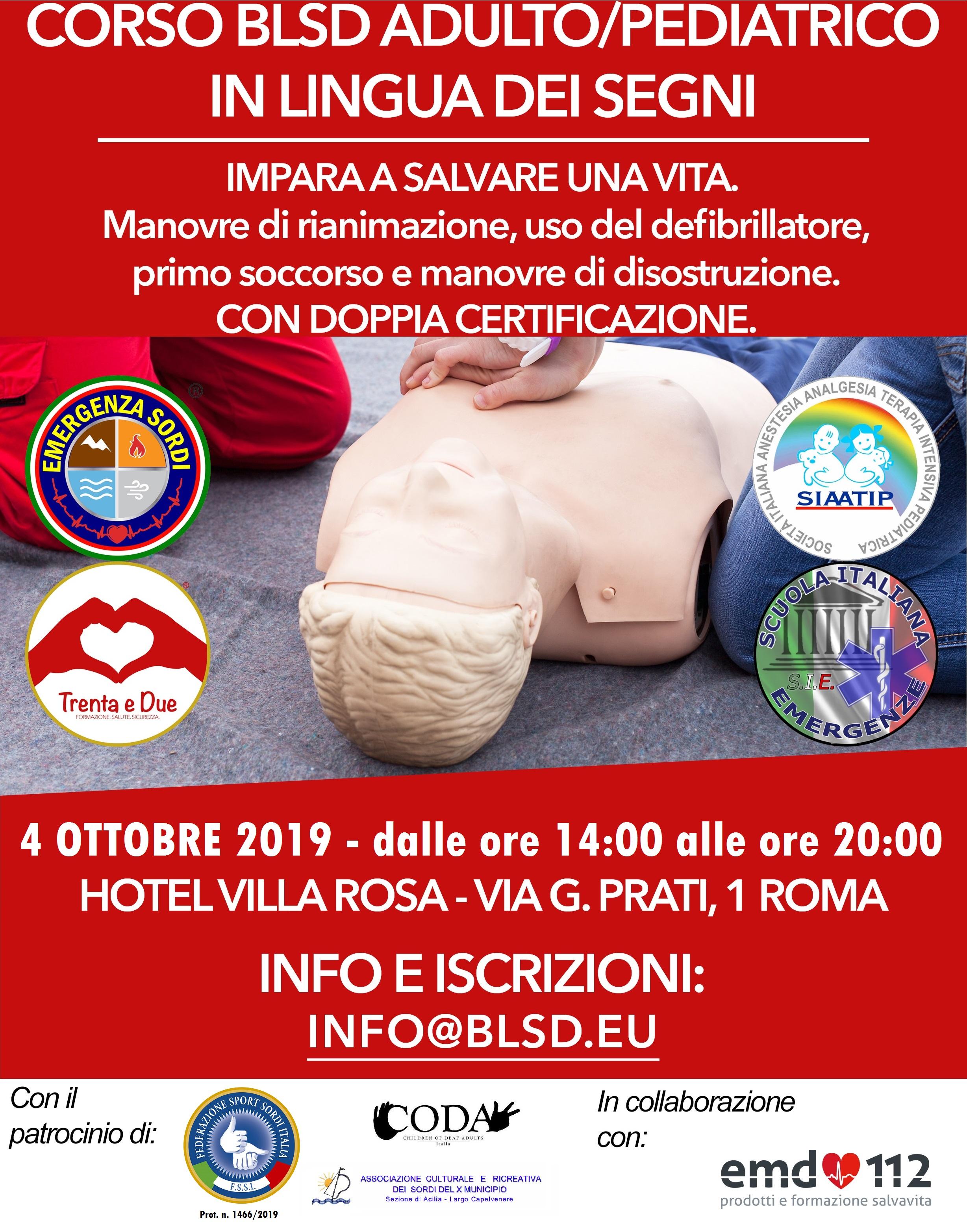 4 Ottobre, Roma (RM). Corso BLSD adulto e pediatrico in LIS
