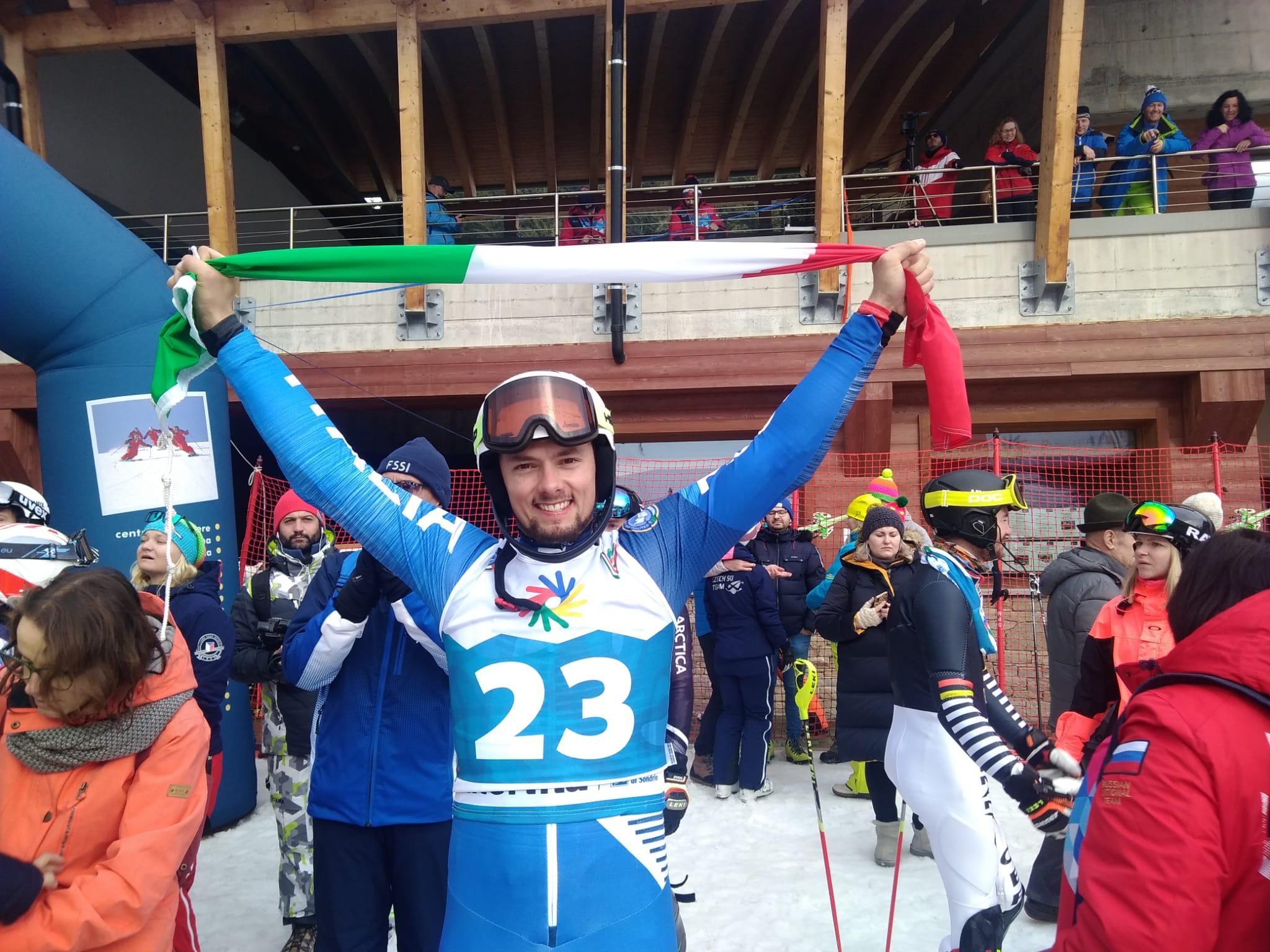 RECORD OLIMPICO: Giacomo Pierbon vince il quinto oro (slalom speciale) alle Olimpiadi dei sordi di Valtellina e Valchiavenna
