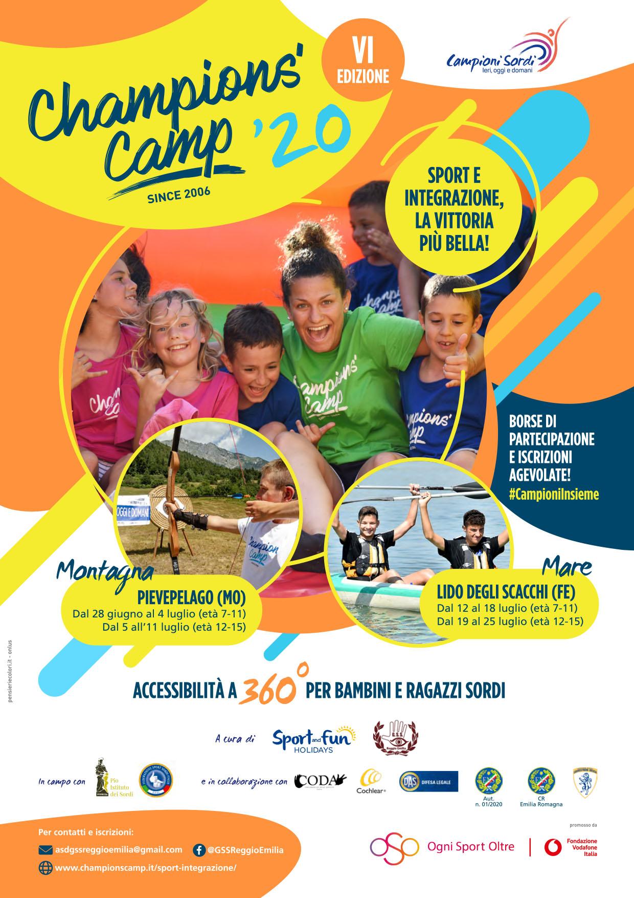 28 Giugno – 4 Luglio e 5-11 Luglio, Pievepelago (MO). Champions Camp, sport e integrazione: la vittoria più bella